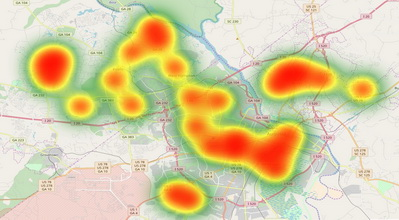 My Visiting Heatmap in Augusta GA